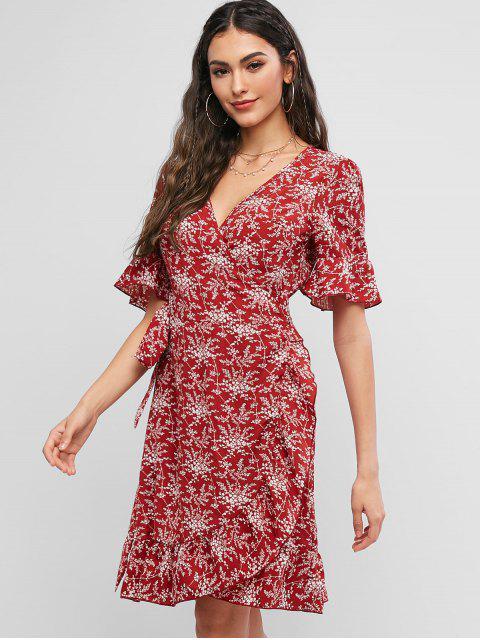trendy ZAFUL Tiny Floral Ruffles V Neck Wrap Dress - RED WINE M Mobile