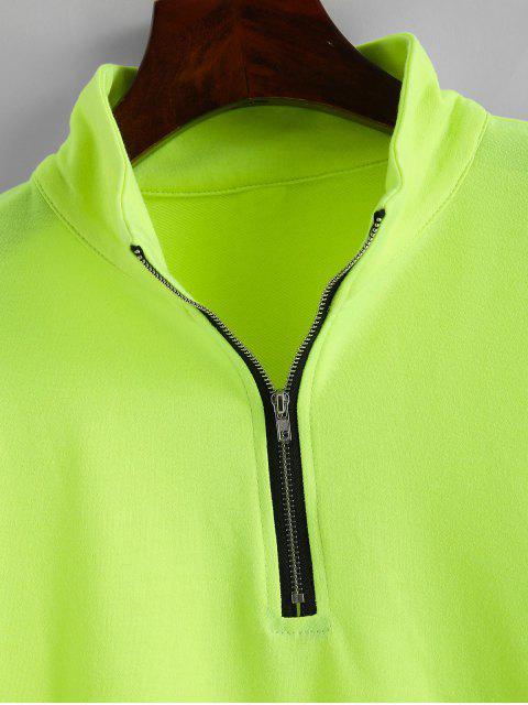 fancy ZAFUL Half Zip Neon Mock Neck Sweatshirt - YELLOW GREEN S Mobile