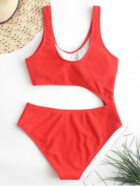 ZAFUL羅紋剪裁連體泳衣 - 明亮的橙色 S Mobile