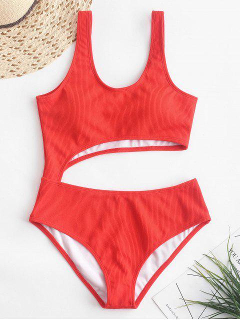 ZAFUL羅紋剪裁連體泳衣 - 明亮的橙色 M Mobile