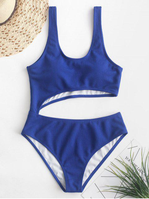 shops ZAFUL Ribbed Cut Out One-piece Swimsuit - COBALT BLUE M Mobile