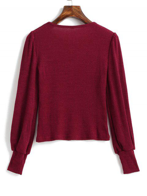 hot Long Sleeve Plain Ribbed Knit Top - RED WINE L Mobile