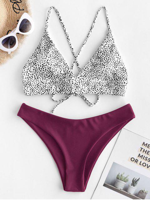 outfit ZAFUL Dalmatian Dot Crisscross High Leg Bikini Swimsuit - MAROON M Mobile