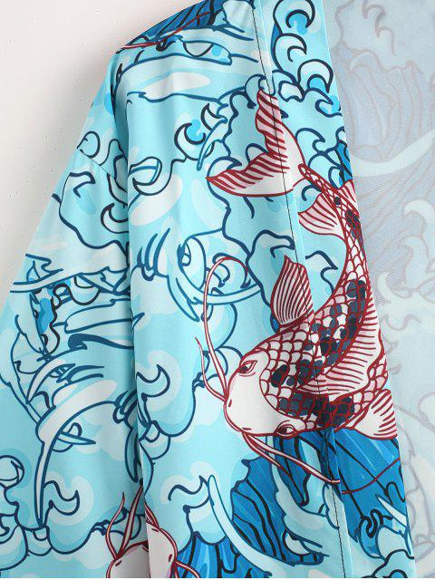 women Sea Wave Koi Print Open Front Kimono Cardigan - LIGHT SLATE L Mobile