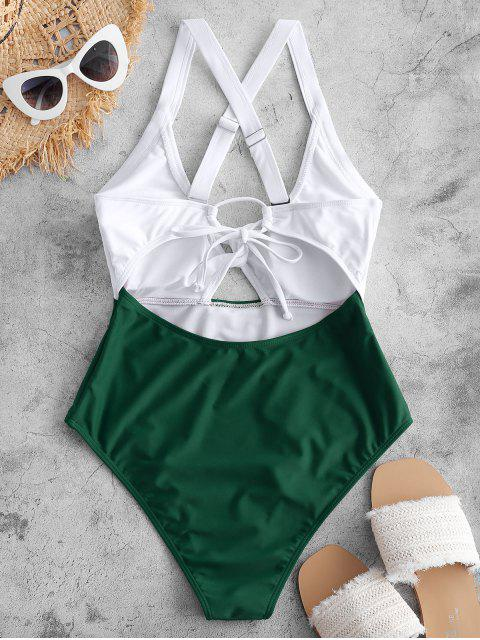 women's ZAFUL Color Blocking Criss Cross Cut Out Swimsuit - MEDIUM SEA GREEN S Mobile