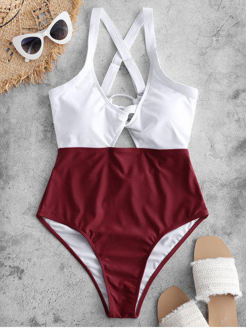 ladies ZAFUL Color Blocking Criss Cross Cut Out Swimsuit - RED WINE L Mobile