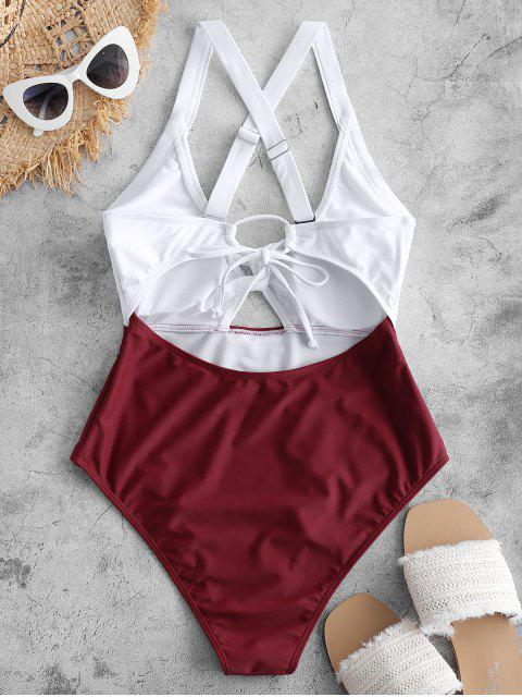 ZAFUL顏色阻擋Criss Cross Cut Out Swimsuit - 紅酒 S Mobile