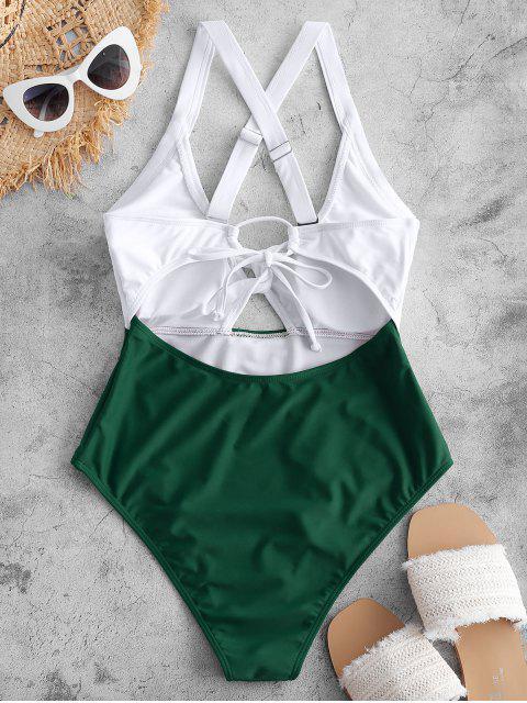 ZAFUL Bañador Cruzado de Color Bloque - Mar Verde Mediana L Mobile