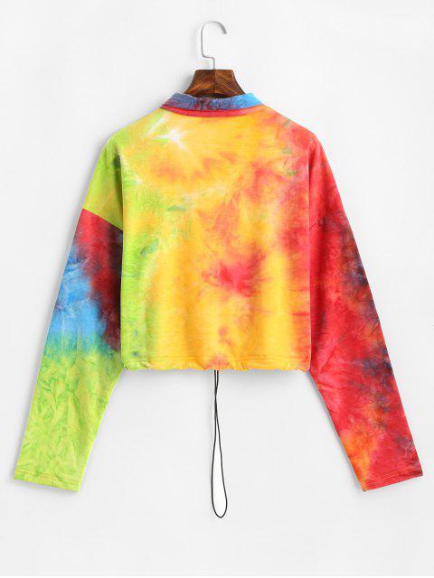 Sudadera con media cremallera y lazo con lazo Rainbow Dye ZAFUL - Multicolor XL Mobile