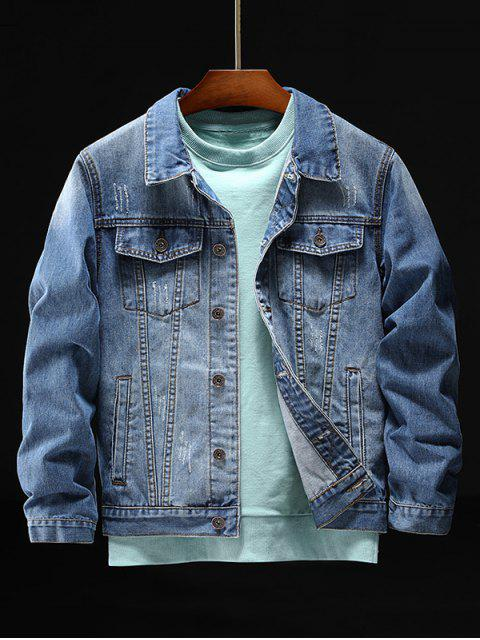 latest Indian Character Embroidery Scratch Chest Pocket Denim Jacket - BLUE L Mobile