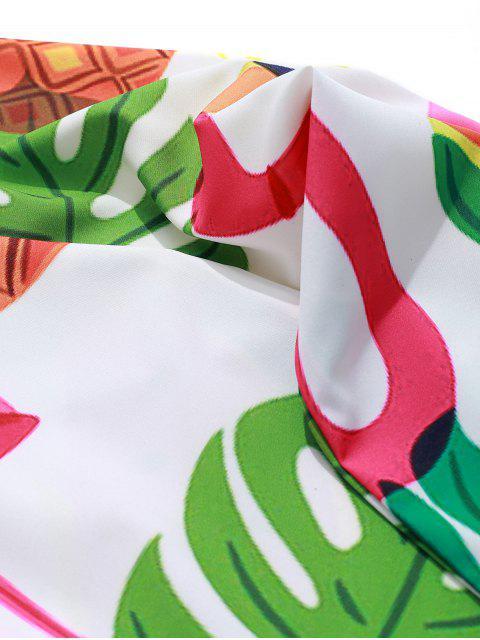 Flamenco piña sandía tropical de la impresión camisa de la playa de vacaciones - Multicolor M Mobile