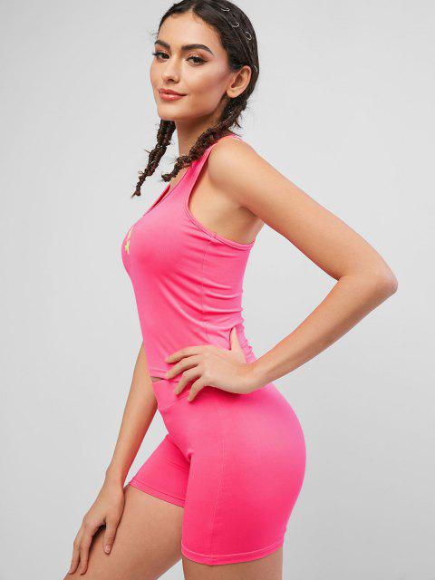 online Neon Embroidered Racerback Sports Two Piece Set - NEON PINK S Mobile