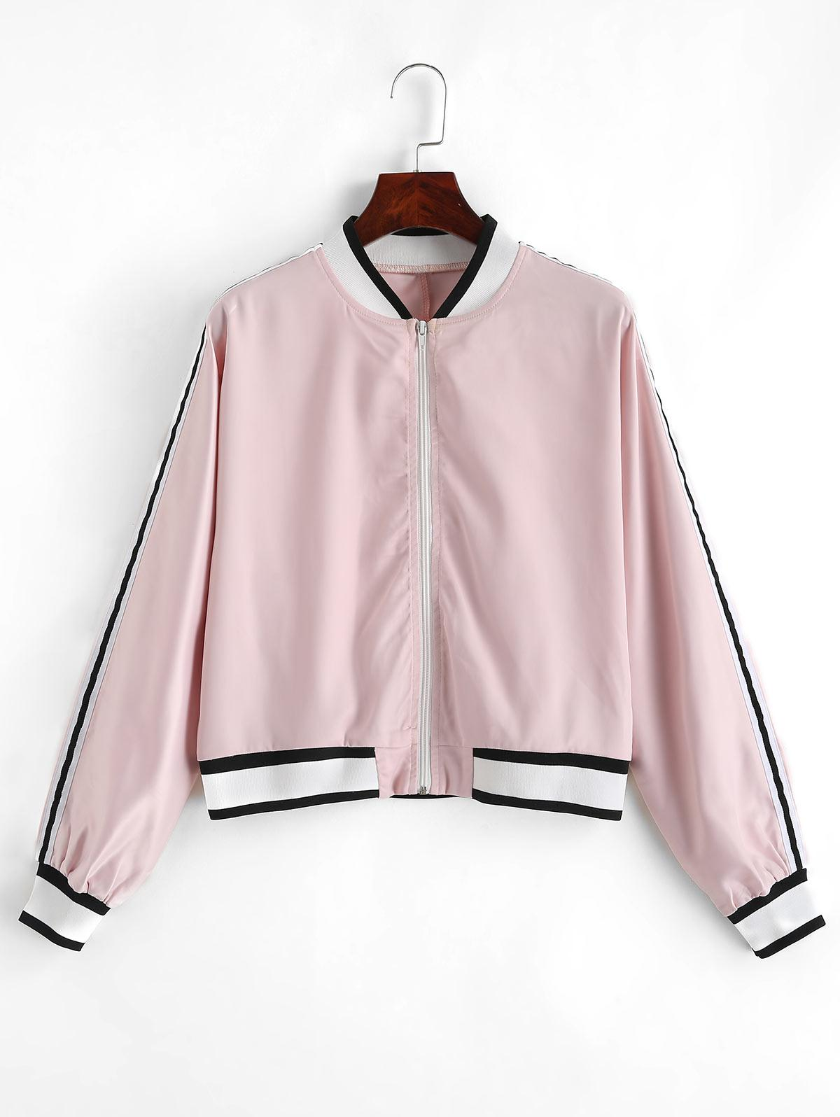 ZAFUL Striped Patched Zip Up Satin Jacket
