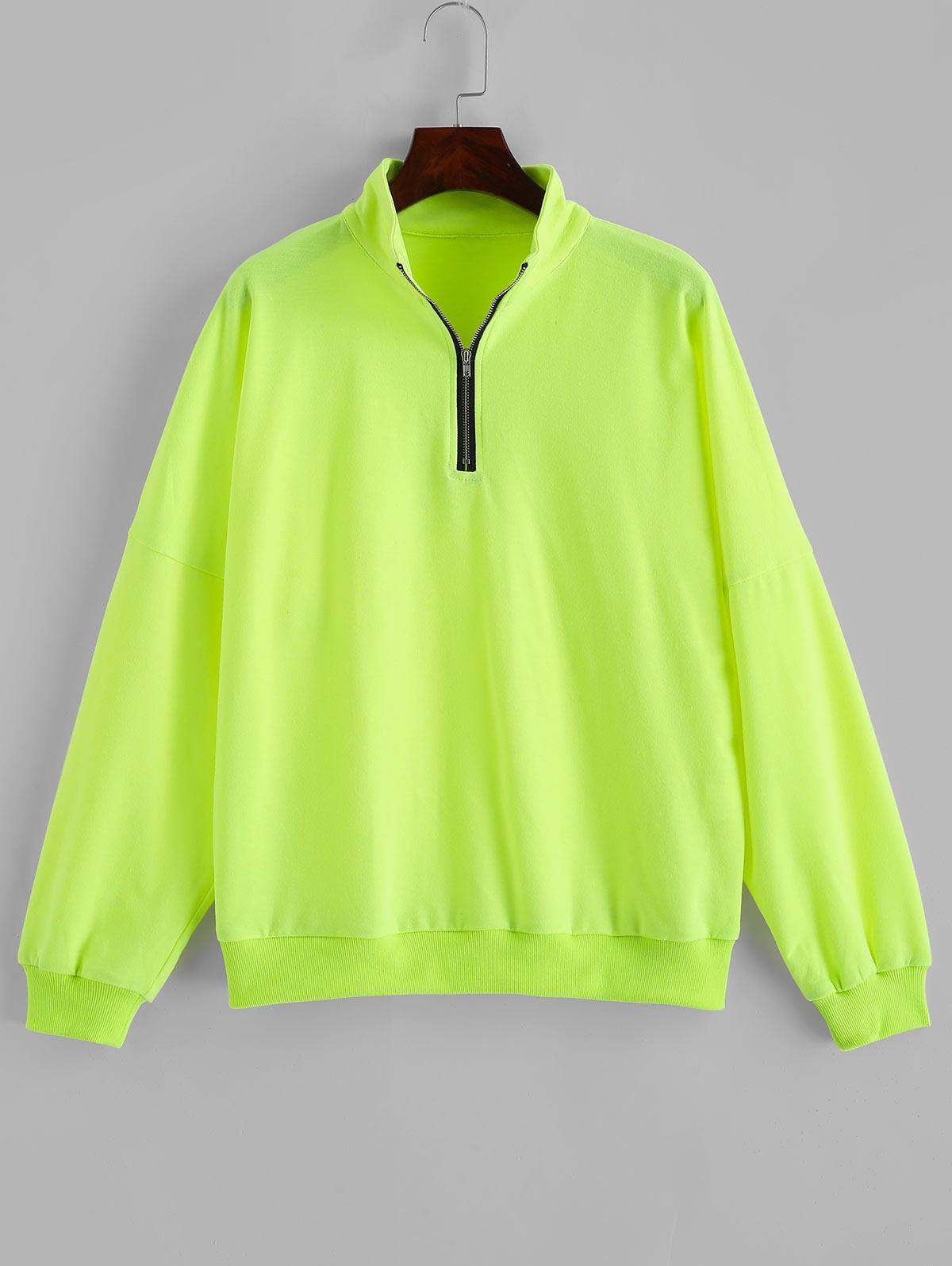 ZAFUL Half Zip Neon Mock Neck Sweatshirt thumbnail