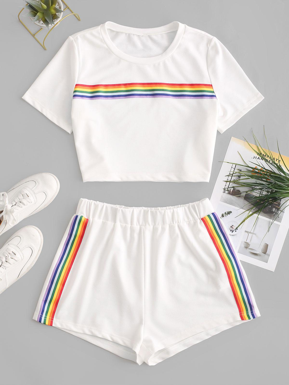 ZAFUL Rainbow Striped Patched Crop Two Pieces Suit фото