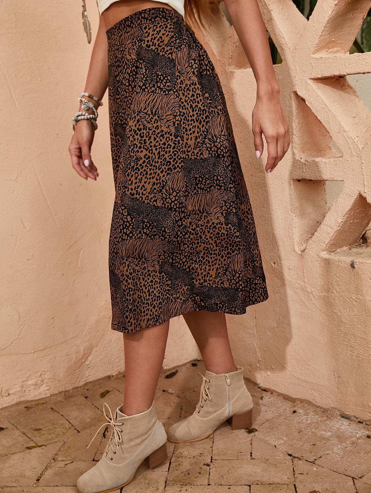 ZAFUL Foderato Leopard Una Linea di abbigliamento