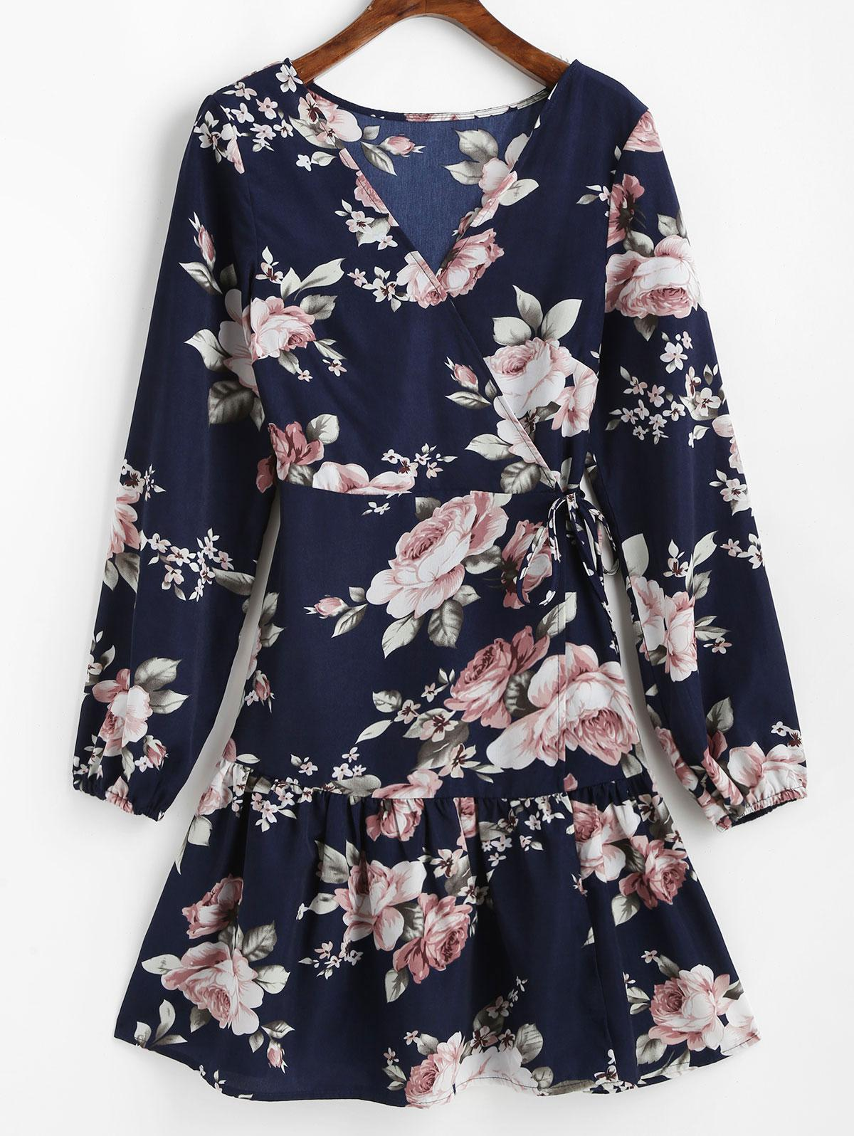 ZAFUL Long Sleeve Floral Mini Wrap Dress thumbnail