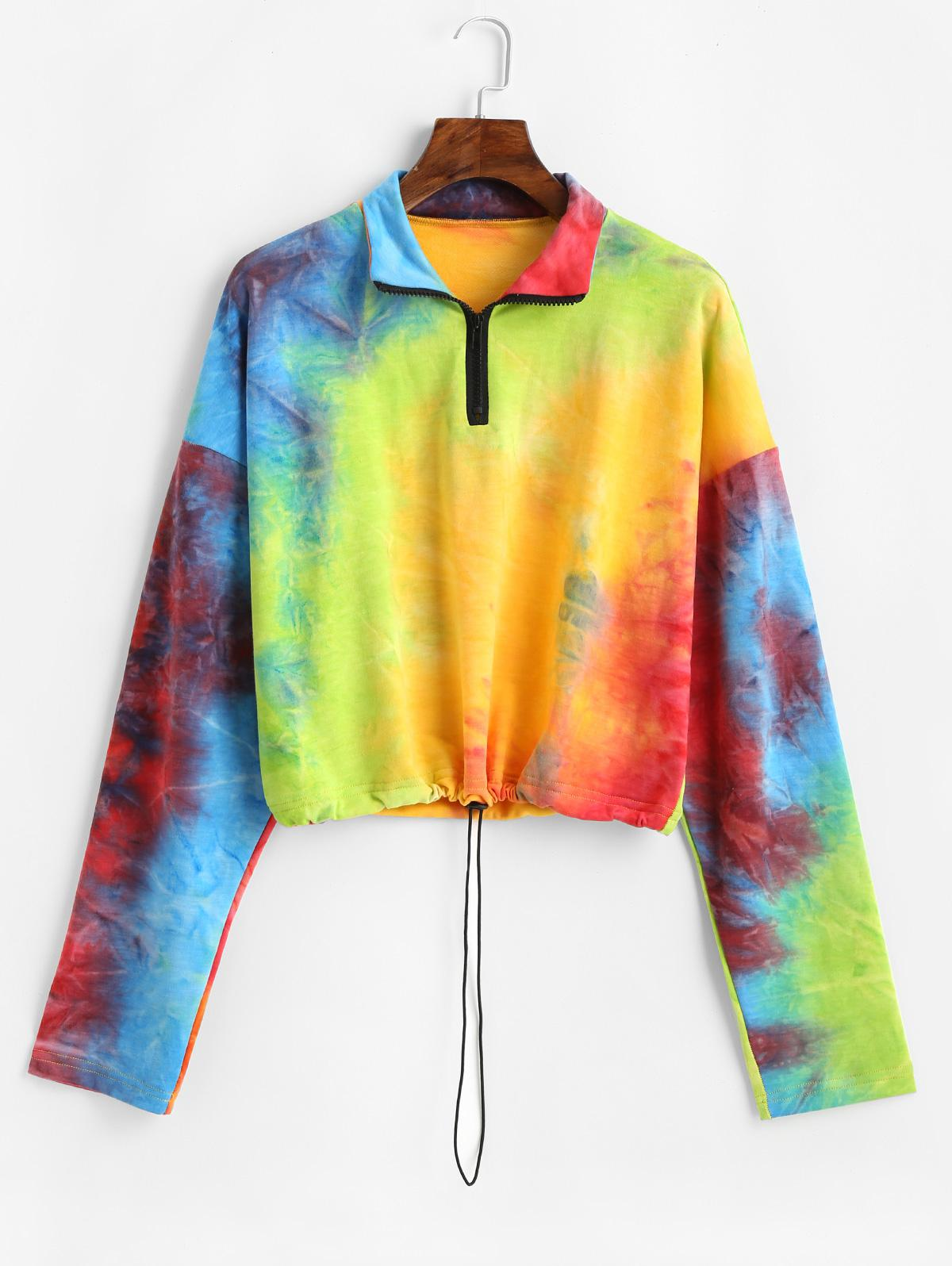 ZAFUL Drawstring Rainbow Tie Dye Half Zip Sweatshirt, Multi
