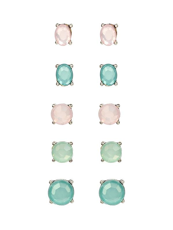 Candy-colored Round Stud Earrings Set, Multi-a
