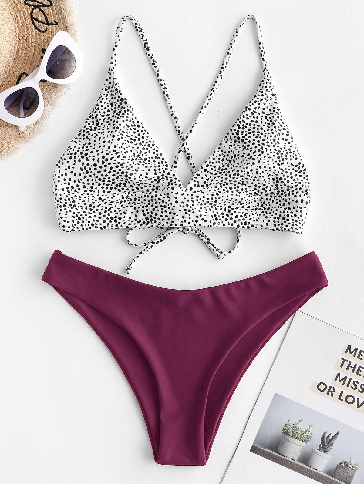 ZAFUL Dalmatian Dot Crisscross High Leg Bikini Swimsuit фото