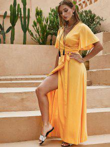 ZAFUL الصلبة لف فستان ماكسي - أصفر فاقع S