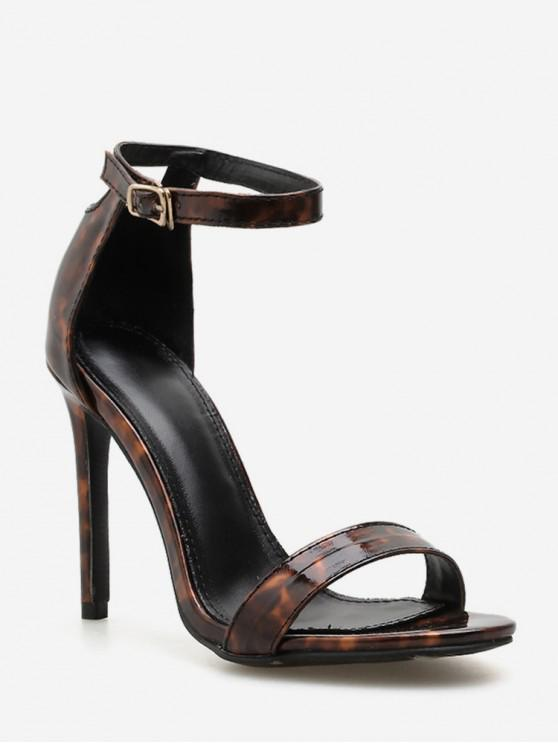 women Tortoiseshell Stiletto High Heel Ankle Strap Pumps - BROWN EU 40