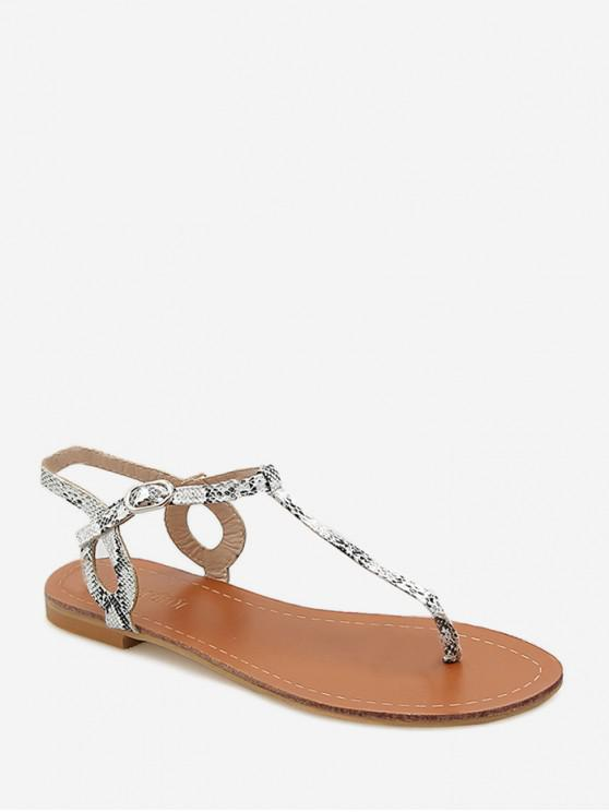 trendy Toe Post Snakeskin Print Flat Sandals - WHITE EU 40