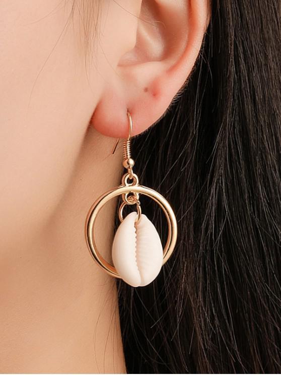 Orecchini a cerchio asimmetrico in finta perla conchiglia - Oro