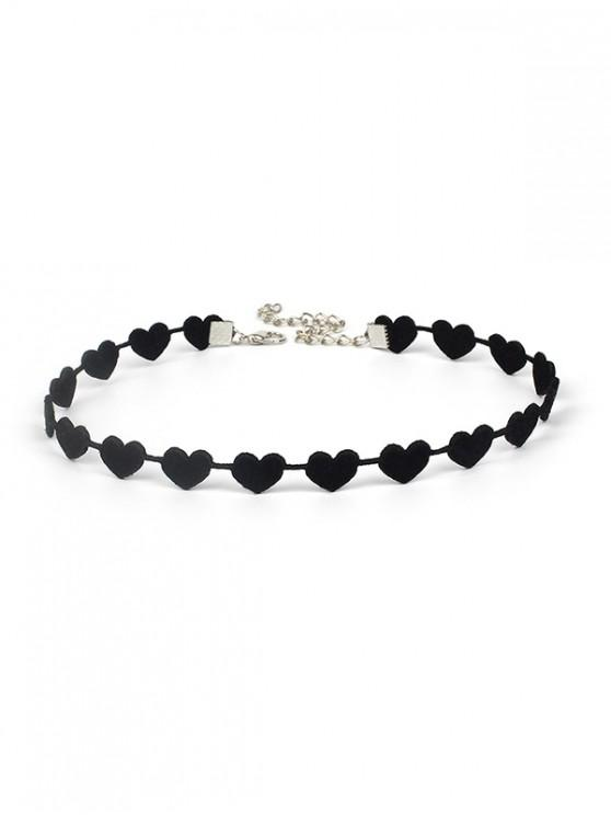 online Velour Heart Choker Necklace - BLACK
