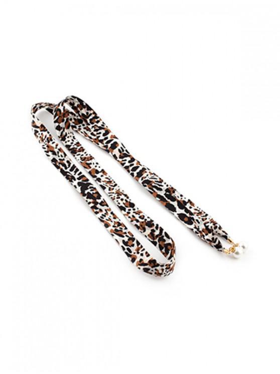 Cintura in finta perla con fantasia floreale a righe - Leopardo