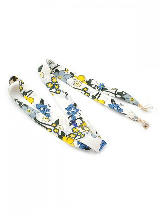 Cintura a nastro in finto cristallo con stampa floreale minuscola - Bianca