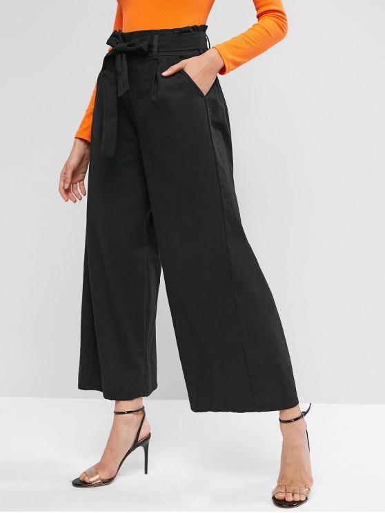Bolsillos con cinturón Paperbag pantalones de pierna ancha - Negro S