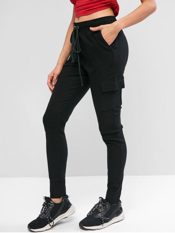 Pantalones sólidos con cordón y bolsillos - Negro M