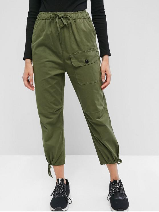 Pantalones de jogger de bolsillo con cordón y cintura alta - Verde Camuflaje M