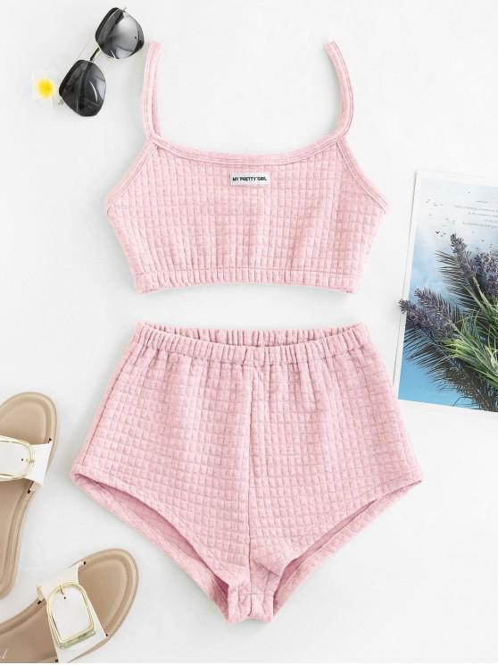 outfits My Pretty Girl Patched Textured Square Two Piece Set - PIG PINK S