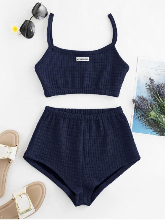 latest My Pretty Girl Patched Textured Square Two Piece Set - MIDNIGHT BLUE S