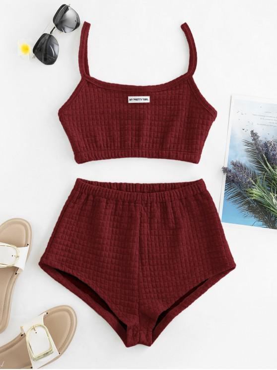 trendy My Pretty Girl Patched Textured Square Two Piece Set - RED WINE S
