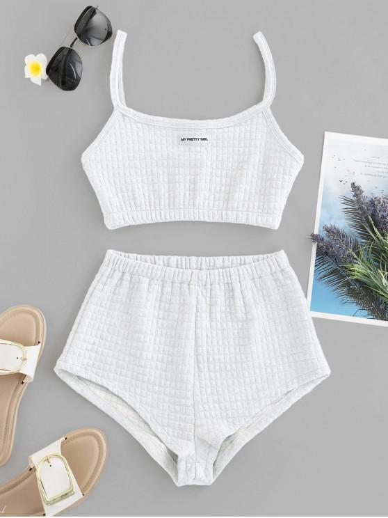 sale My Pretty Girl Patched Textured Square Two Piece Set - WHITE L