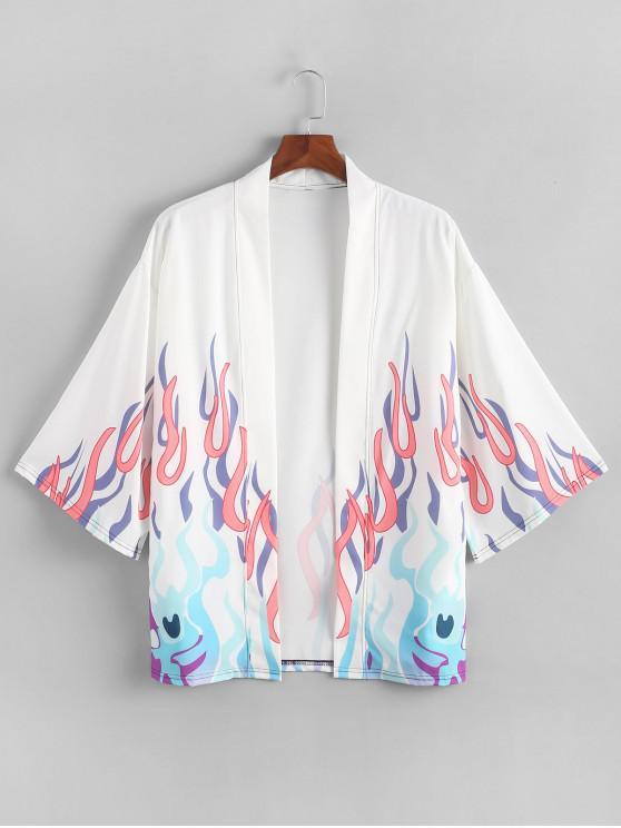 online Flame Print Open Front Kimono Cardigan - WHITE 3XL