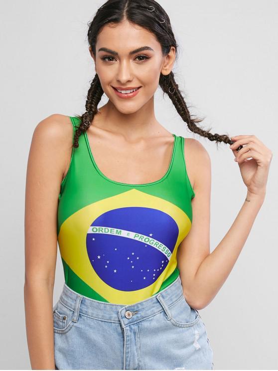womens U Neck Sleeveless Brazilian Flag Bodysuit - GREEN SNAKE ONE SIZE