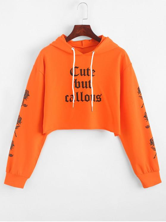 trendy Slogan Graphic Floral Halloween Cropped Hoodie - ORANGE S