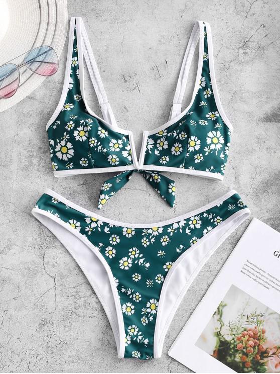 Bañador de bikini de pierna alta con cuello en V y estampado de margaritas ZAFUL - Mar Verde Mediana L