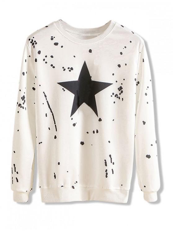 lady Star Dots Splatter Print Pullover Casual Sweatshirt - WHITE M