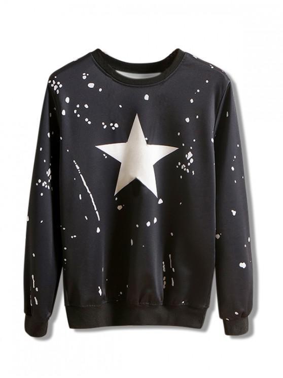unique Star Dots Splatter Print Pullover Casual Sweatshirt - BLACK S