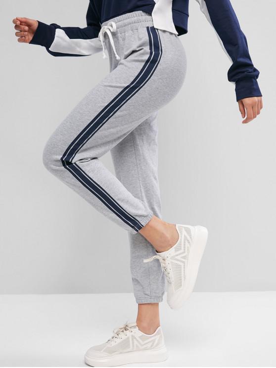 Pantalones de chándal con cordón a rayas laterales ZAFUL - Ganso Gris M
