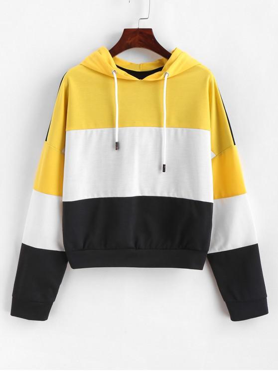 buy ZAFUL Color Block Pullover Drop Shoulder Hoodie - MULTI M