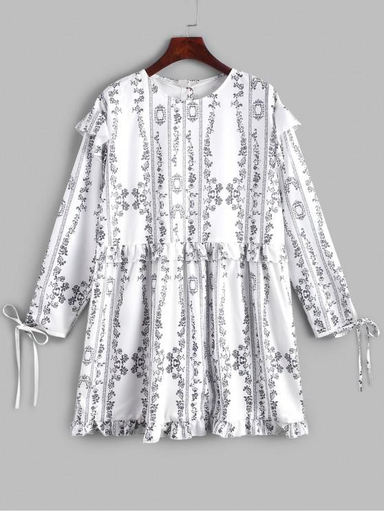 shops Ditsy Floral Half Buttoned Back Long Sleeve Dress - WHITE S