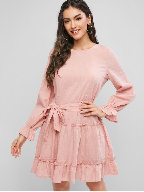 fashion ZAFUL Swiss Dot Frilled Tunic Dress - FLAMINGO PINK M