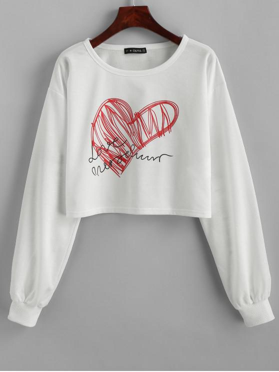 affordable ZAFUL Heart Graphic Cropped Sweatshirt - MILK WHITE M