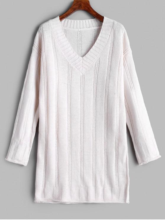 unique Longline V Neck Pullover Sweater - WARM WHITE ONE SIZE